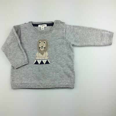 Boys size 00, purebaby, organic cotton / wool jumper / sweater, lion, GUC