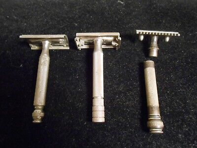 Vintage Gillette Safety Razor Lot of 3 - Shaving Barber Decor
