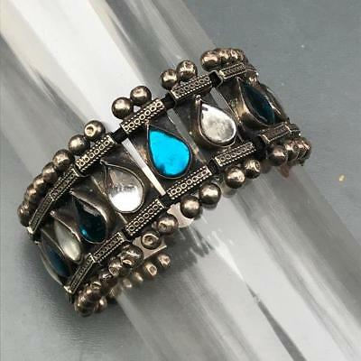 Vintage Tribal India Hand crafted 800 Silver foil Glass Bracelet