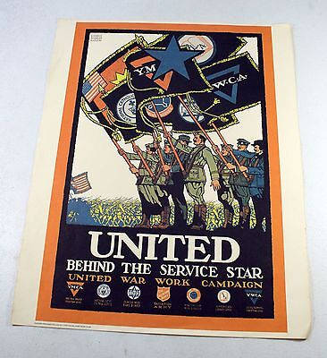 1918 United Behind The Service Star Poster WWI World War One Vintage Reprint