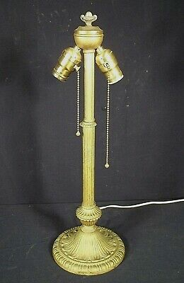 Antique Victorian Art Nouveau Reeded Column Lamp-Double Fat Boy Socket