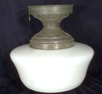VINTAGE EARLY 20th CENTURY MILK GLASS ACORN SHADE WITH THE ORIGINAL FITTER