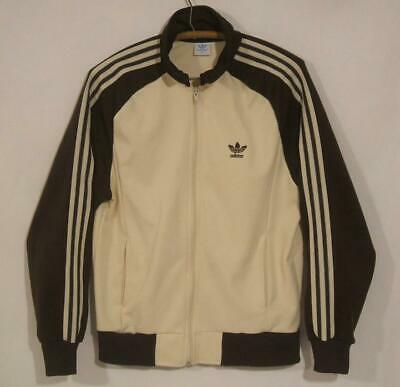 VTG 1980s 80s ADIDAS BROWN & CREAM TREFOIL ZIP TRACK JACKET - MEDIUM - SWEATSUIT
