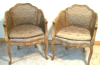 Pair Of Mid Century Carved & Faux Painted Louis Xv Caned & Upholstered Armchairs