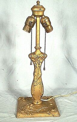 Antique Victorian Art Nouveau Gold Cast Iron Double Fat Boy Socket Lamp