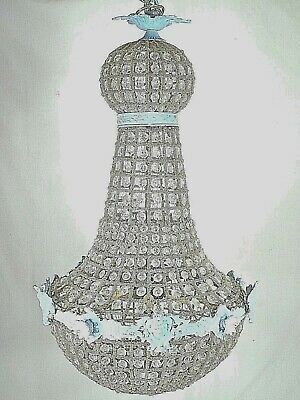 VINTAGE EARLY 20th CENTURY FRENCH REGENCY BELL SHAPED BRASS+GLASS CHANDELIER