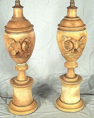 VINTAGE PAIR OF EARLY 20th CENTURY FLORAL CARVED ITALIAN MARBLE LAMPS