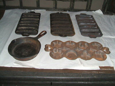 5 Vintage Cast Iron~3 Cornbread Bread Muffin Pan Mold~1 Mixed Shapes ~1 #3 pan