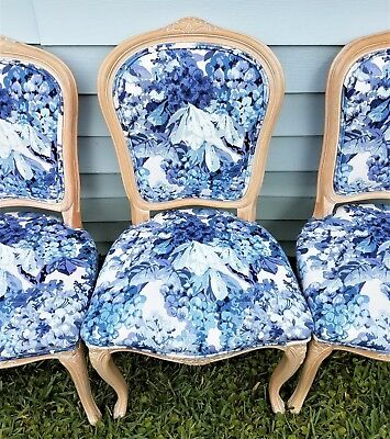 Set of 4 Louis XV Country French Provincial Carved Upholstered Dining Chairs