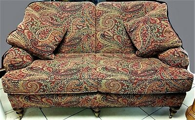 Beautiful WESLEY HALL Country French Upholstered Settee Loveseat On Casters