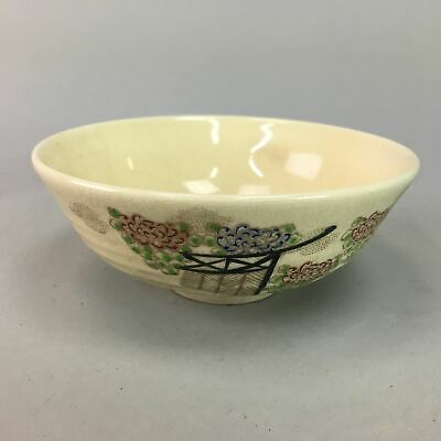 Japanese Summer Tea Ceremony Bowl Kyo Ware Chawan Vtg Pottery Ceramic GTB363