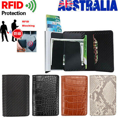 Mens Leather Credit Card Holder Money cash Wallet Clip RFID Blocking Purse AU
