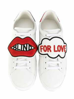 98f41ed3fae Gucci Blind For Love New Ace GG Logo Red White Leather Flat Patch Sneaker  38.5