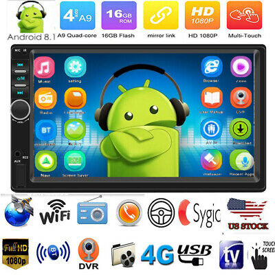 "US Android 8.1 7"" 2Din Quad Core GPS Navi WiFi BT Car Stereo MP5 Player FM Radio"