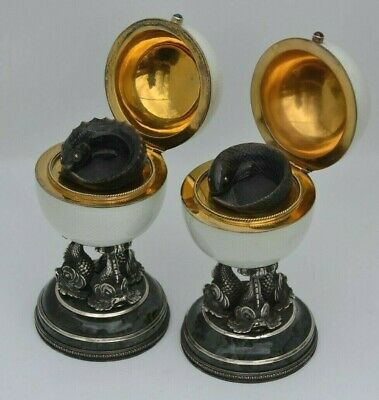 Antique Russian Faberge Pair of Silver Enamel Black an Red Caviar Dishes Holders