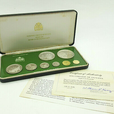 1976 Coinage Of Guyana - Eight Silver & Gold Coin Proof Set