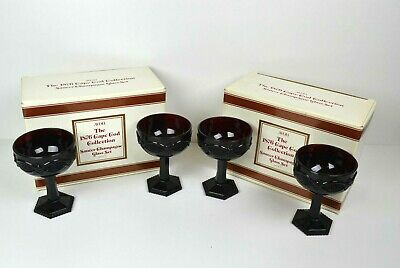 Avon Cape Cod 1876 Ruby Red Saucer Champagne Glass Set of 4 New in Box
