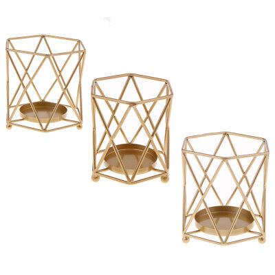 Vintage 3D Geometric Candle Holders Candlestick Table for Home Decor Metal