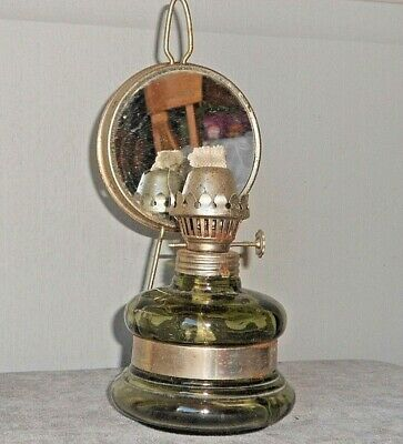 French Antique GLASS & Metal OIL LAMP with reflector