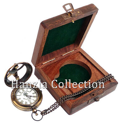 Rose London Brass Sundial Clock Nautical Antique Pocket Watch With Wooden Box