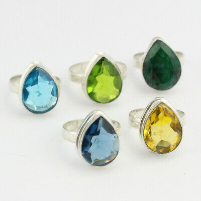 Emerald Topaz Citrine 5pcs Jewelry .925 Silver Plated Wholesale Rings S29471 Jewelry & Watches Mixed Items & Lots