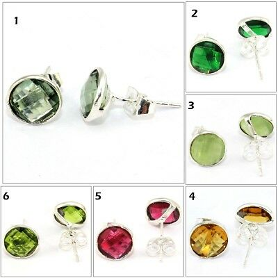 Faceted Tiny Quartz Chalcedony Gemstone Silver Plated Round Stud Earring Jewelry