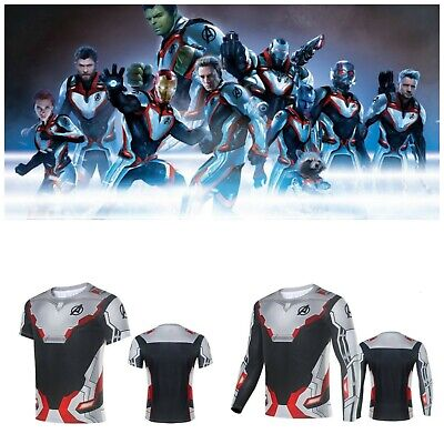 Avengers Endgame Quantum Realm Costume Compression T-Shirt Superhero Cosplay