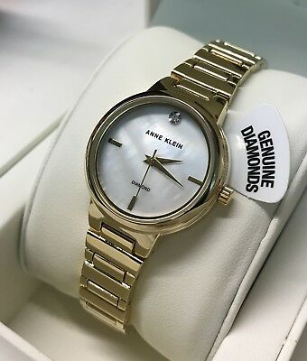 66129aa61 ANNE KLEIN New Yellow Gold-Tone Mother Of Pearl Diamond Accent Dial Womens  Watch