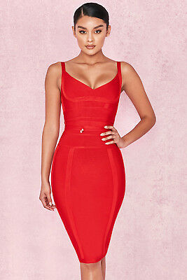 0ed9ebd0c52a HOUSE OF CB 'Belice' Red Tie Waist Bandage Dress S 8 / 10 SS