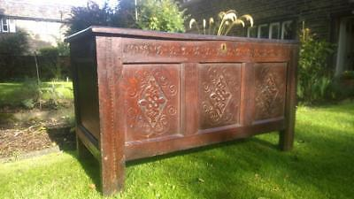 A Splendid Large 17th Century Carved Oak Coffer