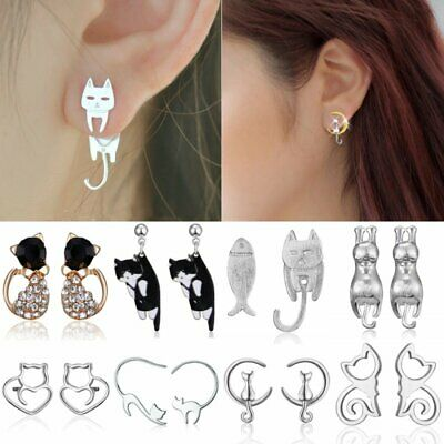 Women Silver Cat Animal Crystal Pearl Asymmetric Ear Stud Earrings Jewellery New