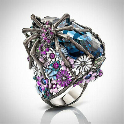 Turkish Handmade 925 Silver Flower Spider Sapphire Women Ring Jewelry Sz 6-10