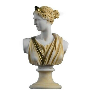 Artemis Diana Bust Greek Statue Nature Moon Goddess Gold Tone 8.66""