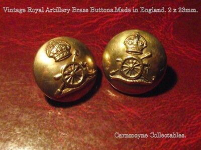 Vintage Royal Artillery Brass Buttons.Made in England. 2 x 23mm AH9707.