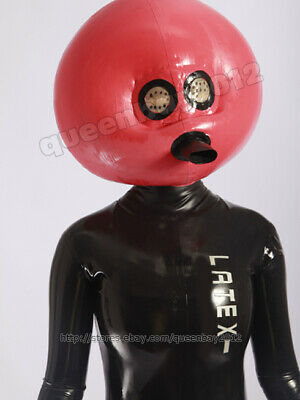 Neu 100% Latex Rubber Aufblasbar Inflatable Maske Hood 0.45mm Mask Suit Anzug