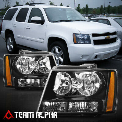 Fits 2007-2014 Chevy Avalanche/Suburban/Tahoe[Black/Clear]Amber Corner Headlight