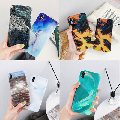 For Apple iPhone XS Max XR X 8 7 Plus Pastel Marble Pattern IMD Soft Case Cover