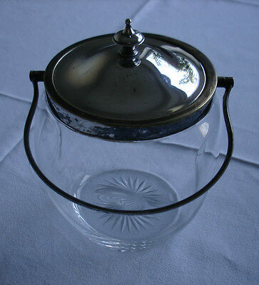 Antique Epns (Silver Plate) & Glass Biscuit Barrel/ Sweetie Jar - Free P&P
