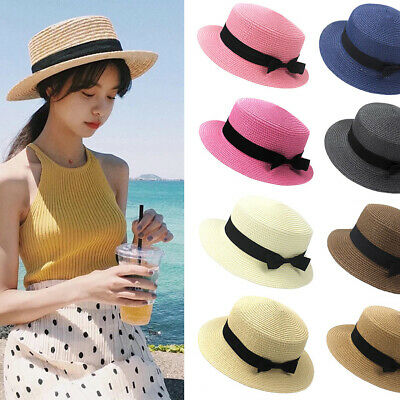 0a3af121cd8e2 Fashion Women Girl Child Boho Straw Boater Sun Hat Bow Flat Wide Brim Beach  Cap