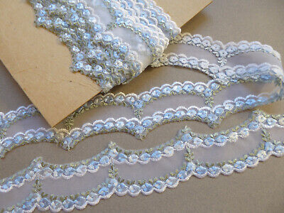 Vintage Embroidered Voile Trim. 1950's. Price per Metre