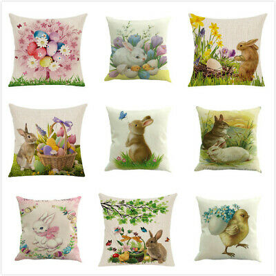 Easter Bunny Rabbit Waist Throw Pillow Case Decorative Cushion Cover Cojines 18'