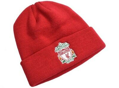 Liverpool Football Club Official Red Turn Up Beanie Hat Crest Adult One Size