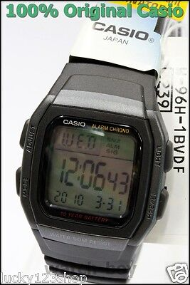 W-96H-1B Black Genuine Casio Watch Men's Digital Alarm Chronograph 50M Resin