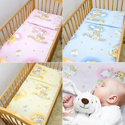 2 Piece Kids Cotton Duvet Cover Pillowcase for Baby Crib/Cot/Junior Bed - Bears