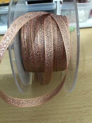 Rose Gold Berisfords Sparkly Glitter Ribbon 7mm x 20 Metres