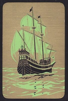1 Single VINTAGE Swap/Playing Card GALLEON SHIP GREEN SAILS on GOLD