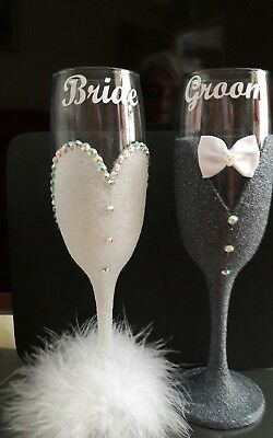 Bride and Groom Glitter Champagne Flutes