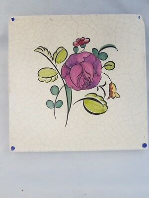 poole pottery tile hand painted flower colourful