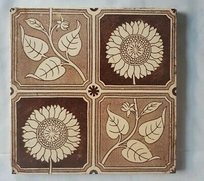 Arts And Crafts Style Floral English 6 Inch Tile Late 19Th Century