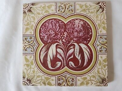 English Period Tile. Pretty Colourful Flower Decoration. Arts And Crafts Style
